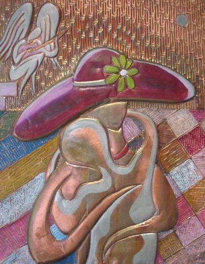 115-Amore-eterno-smalti-e-olio-su-rame-sbalzato-50-X-60--2013