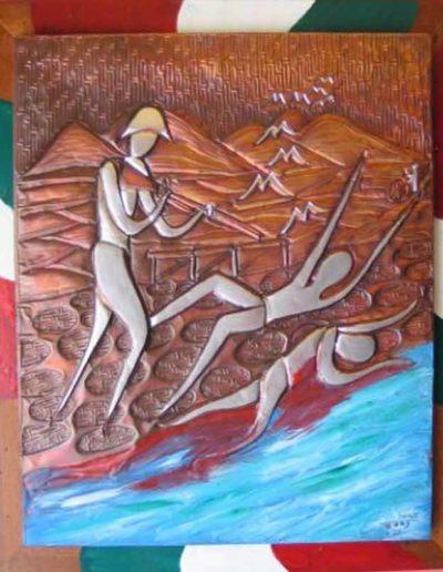 11 La Rondine della Speranza sbalzo su rame patinato e smalti 42x52, 2009