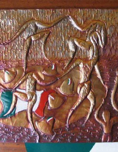 12 La danza nell'indellebile Ricordo sbalzo su rame patinato e smalti 42x62, 2009