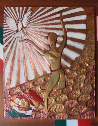 2 Sofferta Libertà sbalzo su rame patinato e smalti 42x52, 2009