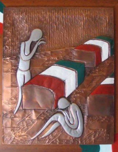 4 L'Ultimo viaggio per la patria sbalzo su rame patinato e smalti 42x52, 2009