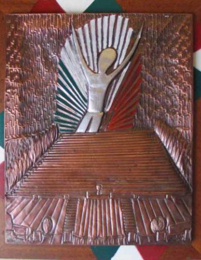 6 Invocazione alla Pace sbalzo su rame patinato e smalti 42x52, 2009