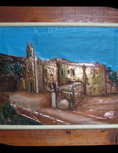 1 Santuario M. della Scala olio su rame sbalzato 50x40, 2005