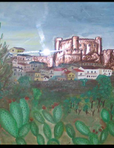 1 il Castello di Rame mis 50x70 (olio su tela con rame applicato) 2005