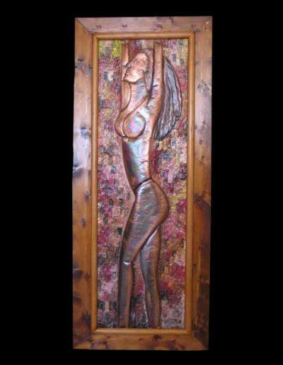 10 Donna 2 olio su rame sbalzato 120x40, 2005