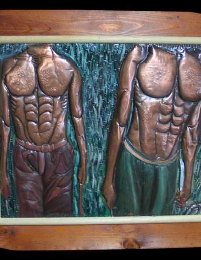2 Umanità in Movimento olio su rame sbalzato 50x40, 2005