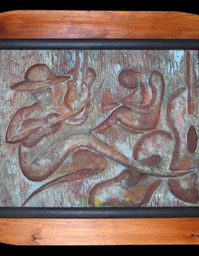 3 Il Fascino del Suono olio su rame sbalzato 50x40, 2005