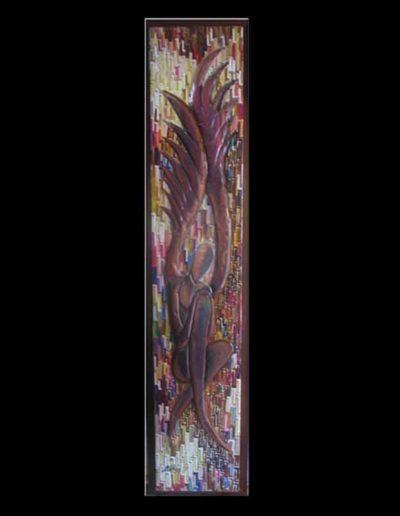 3 L'Abbraccio mis 28x150 (olio su tela con rame applicato) 2006