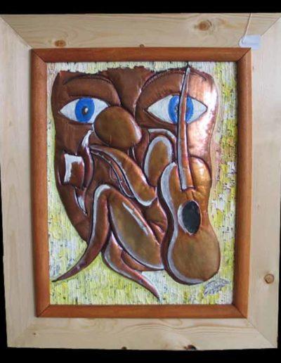 5 Celafarai olio su rame sbalzato 50x40, 2005