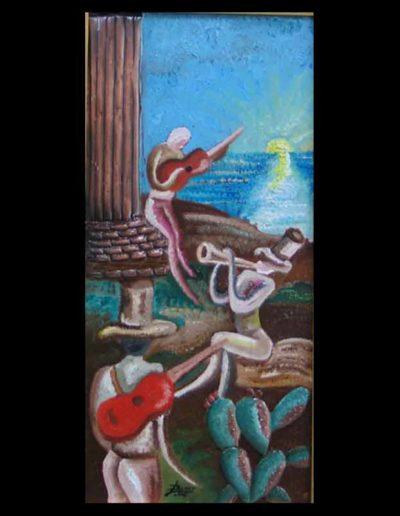 7 Passioni a Capo Colonna mis 30x60 (olio su tavola con rame applicato) 2006