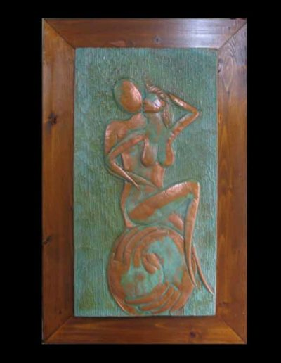 8 Sentimento sbalzo su rame patinato verde 33x62, 2006